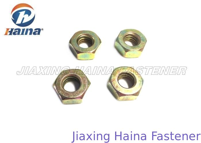 Customized Carbon Steel Nuts Hexagonal Head With Yellow Zinc Finish DIN 934